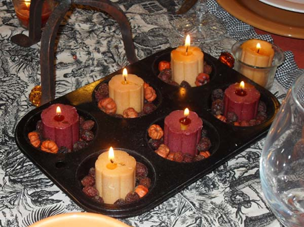 fall ideas for creating inexpensive candles centerpieces for thanksgiving table decoration