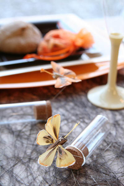 Golden Butterfly And Orange Table Decorations For Fall Home Decorating
