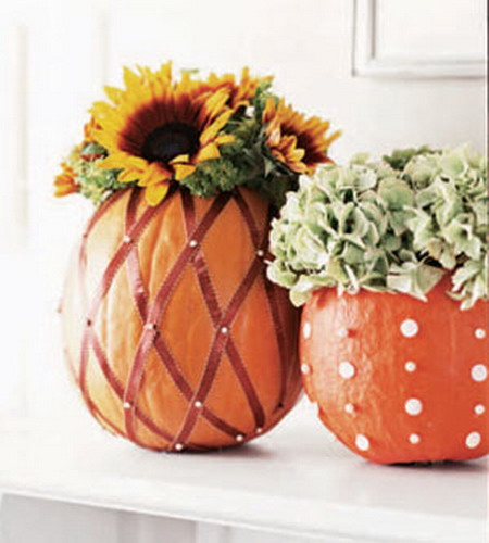 Fall holiday decorations pumpkin and pumpkin flower Flower painted pumpkins