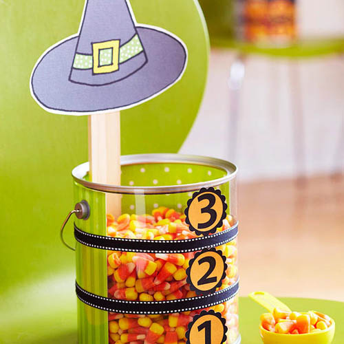 colorful treats for halloween party table decorating
