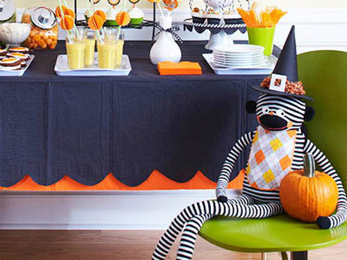 blue and orange halloween decorating ideas for kids