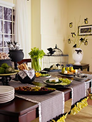 Halloween Party Decorations For Adults Green Or Orange With Black Table Decor