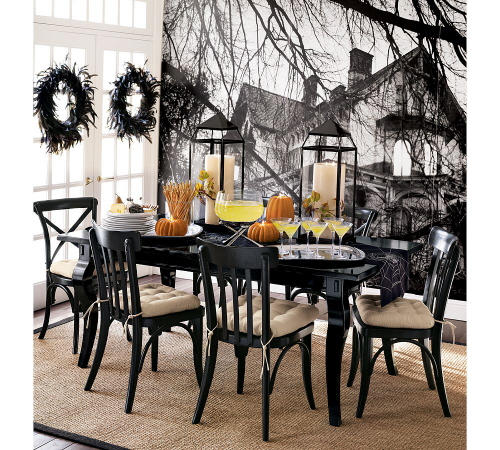 Halloween party decorations for adults green or orange with black table decor - Deco table halloween ...
