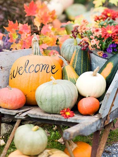 welcoming halloween home and yard decorations made of colorful pumpkins and gourds