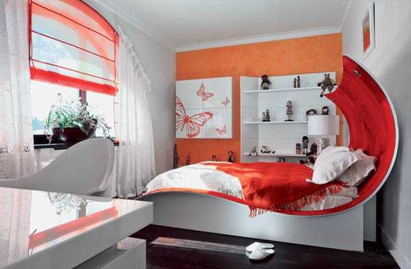 kids room decorating ideas with kid bed in art nouveau style
