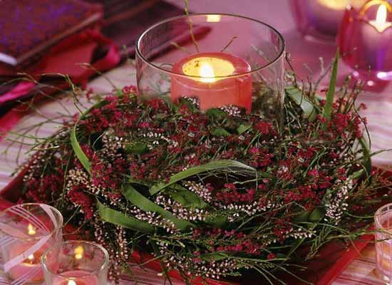 lavender and red with white heather table centerpiece