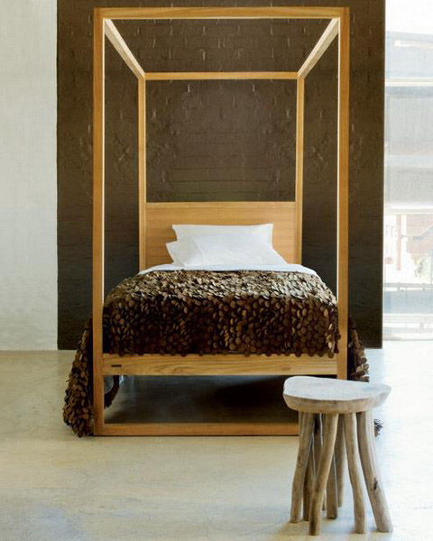 modern bedroom decorating ideas include wooden african bed and brown wall paint color