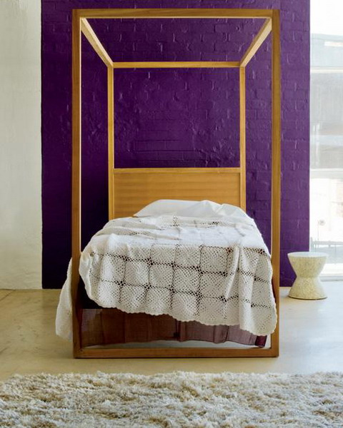 purple wall paint color and wooden african bed - African Bedroom Decorating Ideas