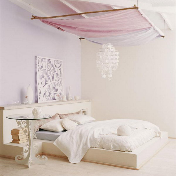 pink canopy and white bedding for african home decoration