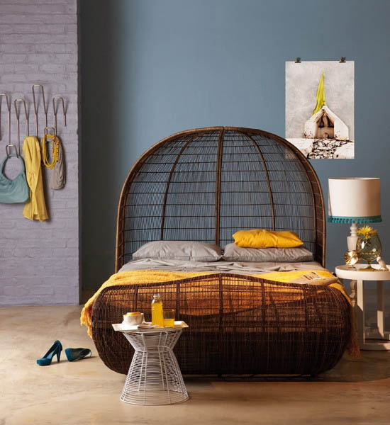 blue wall paint color african bed made of wicker and yellow bedroom decor accessories - African Bedroom Decorating Ideas