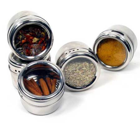 spice tins with glass window are modern kitchen accessories