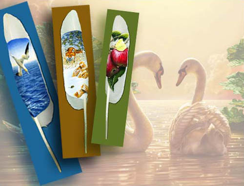 paintings on swan feathers