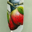 apples and bird painting on a swan feather