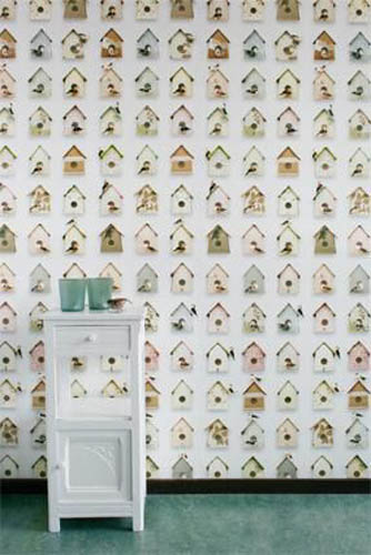 Modern Wallpaper Patterns With Bird Houses For Kids Room Decor