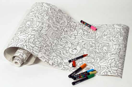coloring walpapers for kids rooms