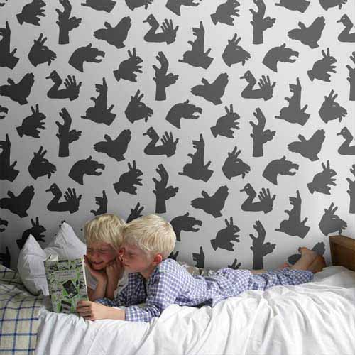 white and black wallpaper patterns with shadows for kids room decorating