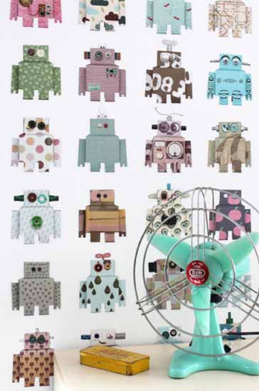 robot wallpaper for kids room designs