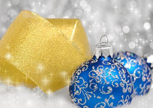 golden yellow ribbons and blue christmas balls