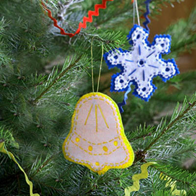 blue and yellow christmas tree decorations