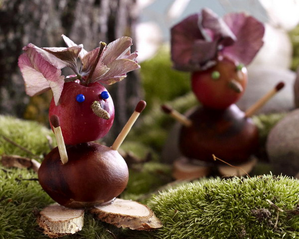 animals and funny characters made of chestnuts