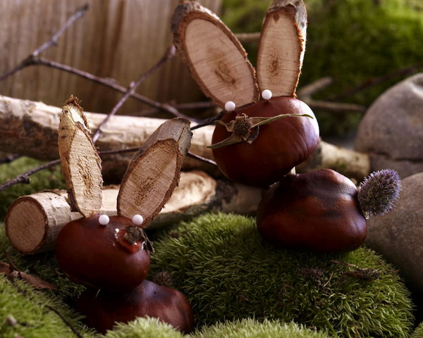 animals made of chestnuts