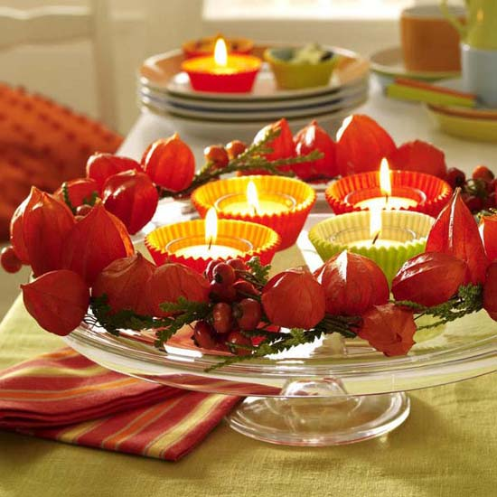 physalis flowers and tea candle centerpiece idea