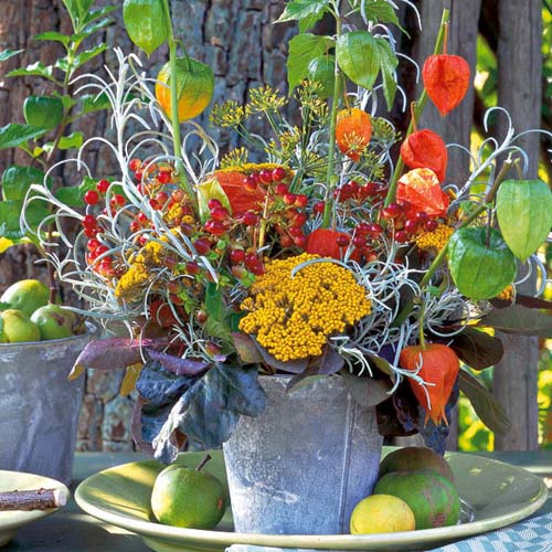 chinese lantern plants and mums table centerpiece idea