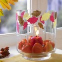chinese lantern flowers and red candle centerpiece idea