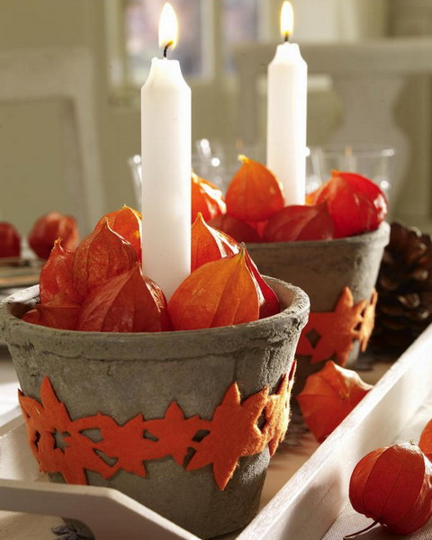physalis flowers and candle table centerpieces
