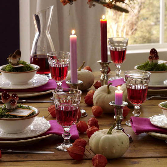 gourds and fall flowers for thanksgiving table decorating