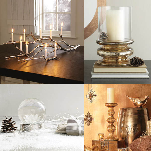 black white and golden colors for christmas table centerpieces