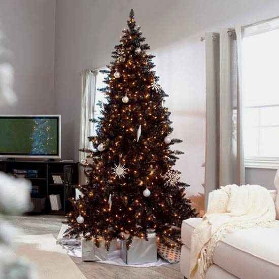 black christmas tree with golden yellow decorations