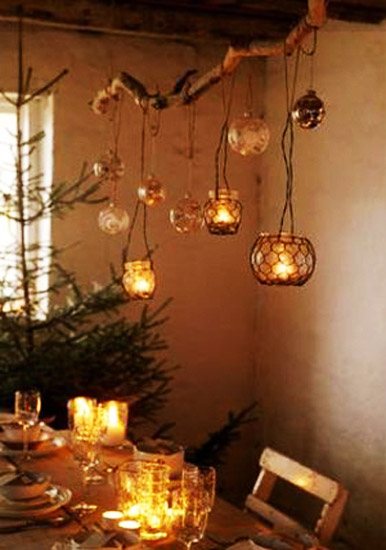 hanging candle holders with candles for christmas decorating