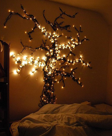 black tree wall decoration with christmas lights