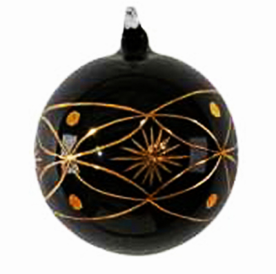 black christmas tree decorations with golden glitter