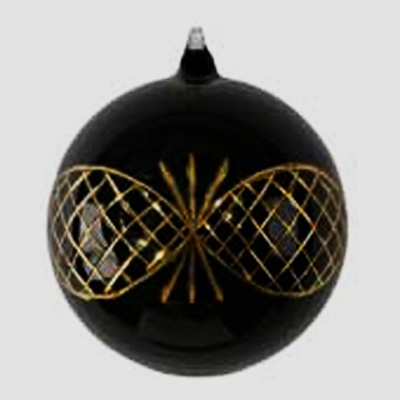 black christmas ball with golden decoration