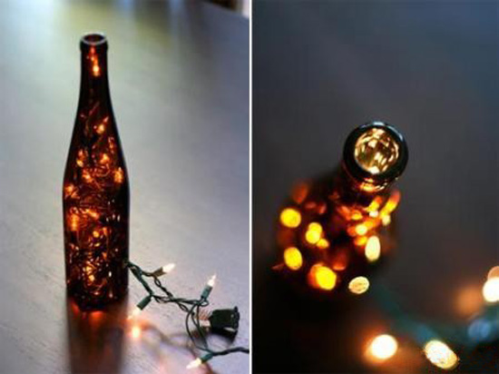 black bottle with christmas lights