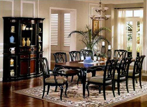 dining room furniture in black wood for colonial homes