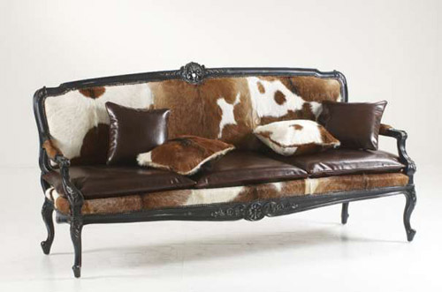exotic wood furniture and fur cushions for colonial homes