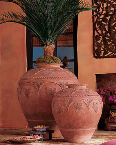 vases with plants for decorating in colonial style