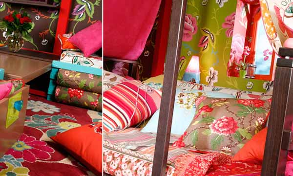 gypsy decoration and colorful decorative fabrics with floral prints