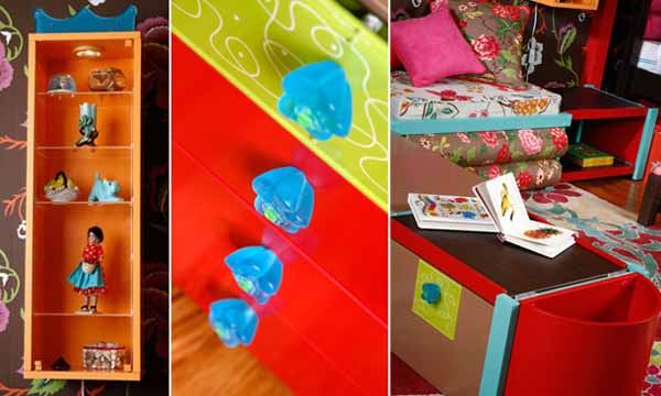 colorful design and red paint for kids storage furniture