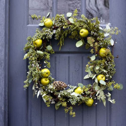 evergreen branches and apples for christmas wreaths
