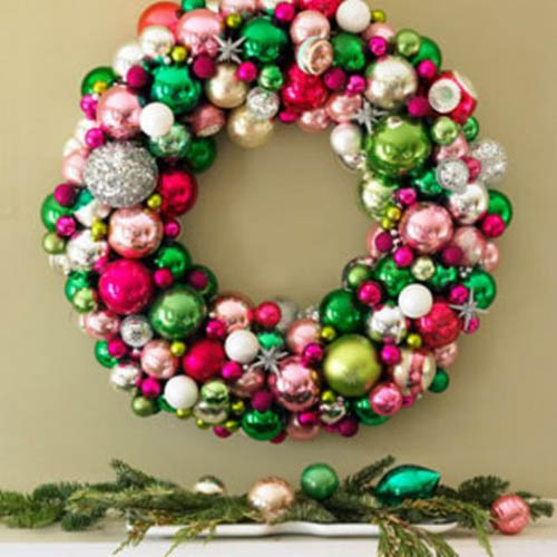 colorful christmas wreath for wall and door decorating