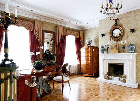 wood floor and antique furniture
