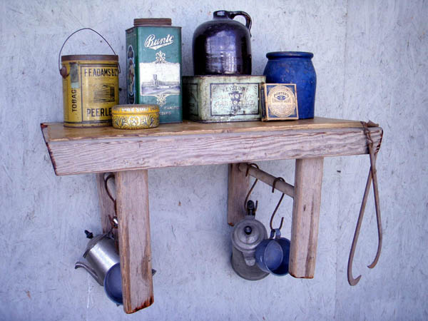 shelf made of rustic wood ladder