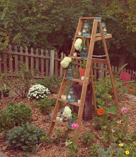 old ladder decorated with blooming plants for backyard design