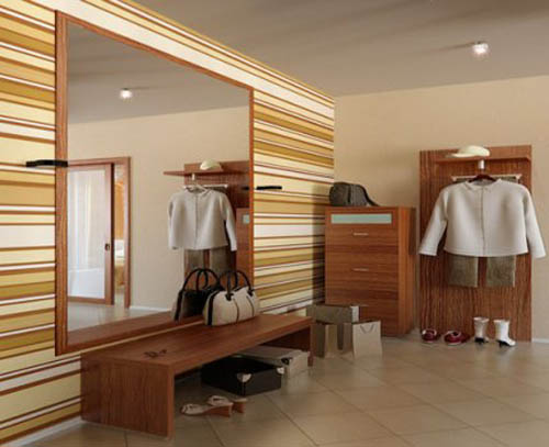 light brown horizontal stripes on walls