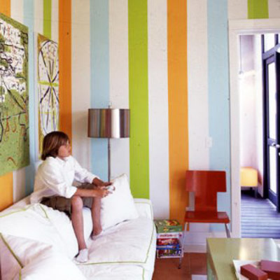 colorful stripes on walls for kids room decor