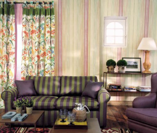 living room furniture upholstery fabric with green and purple stripes